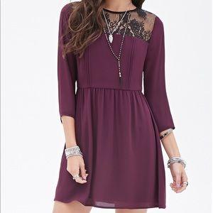 F21 Purple Lace-Paneled Fit & Flare Dress
